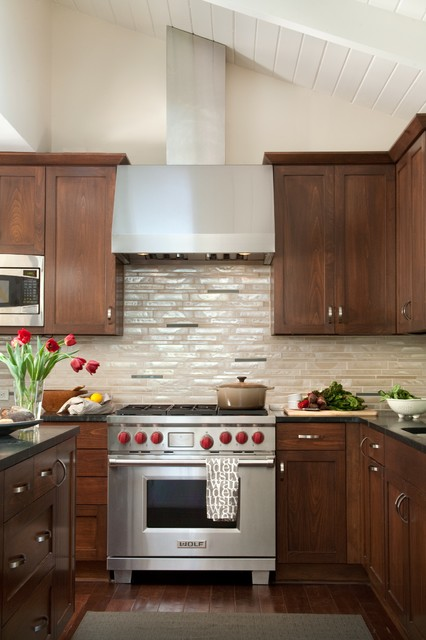 wolf stoves Kitchen Contemporary with dark cabinets dark countertop