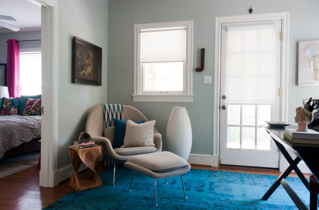 Womb Chair Home Office Contemporary with Artwork Blue Area Rug