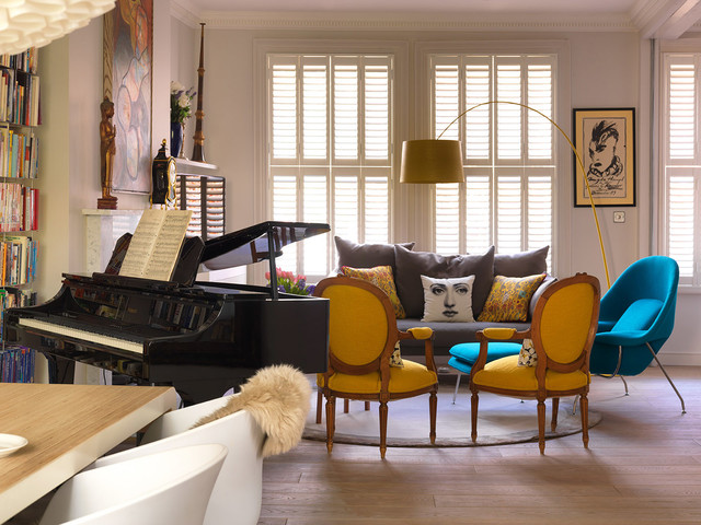 Womb Chair Living Room Contemporary with Baby Grand Piano Blue