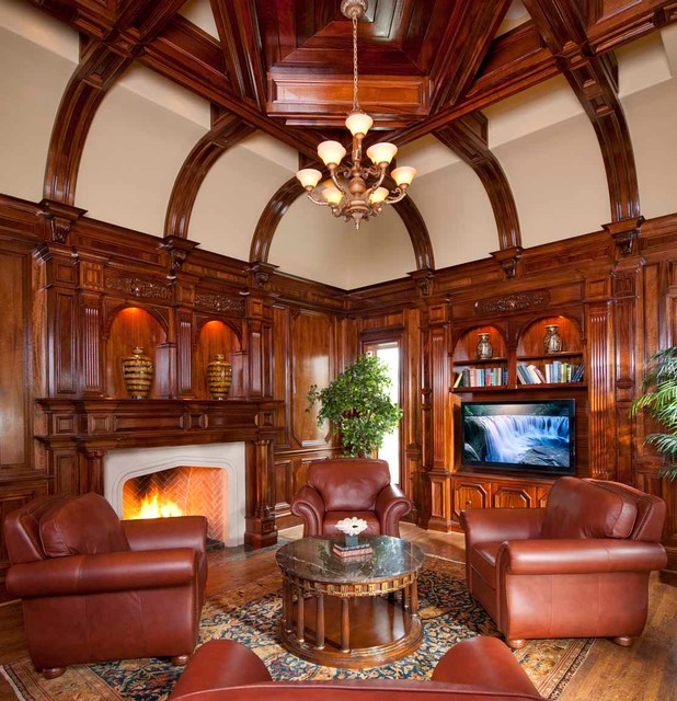 Wood Fireplace Mantels Living Room Traditional with Beige Ceiling Brown Leather