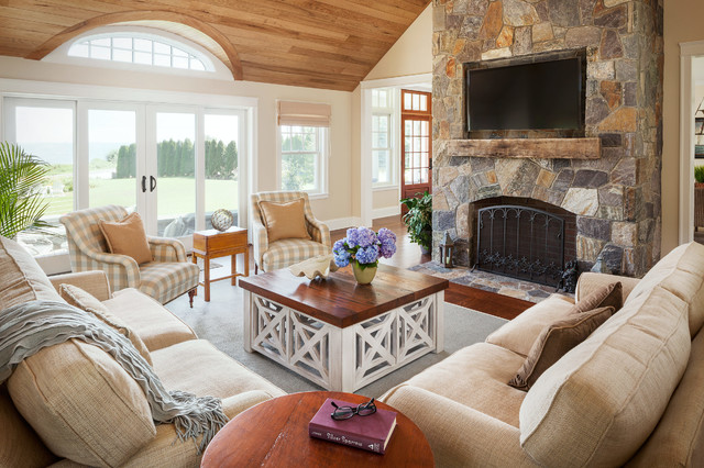 wood fireplace mantels Living Room Transitional with arched window beige sofa