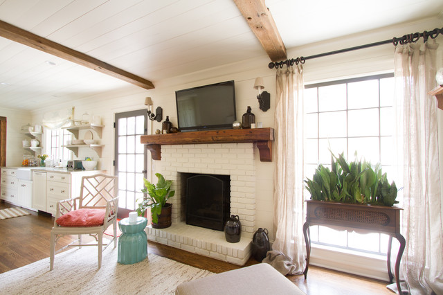 Wood Mantels Family Room Traditional with Beams Brick Fireplace French