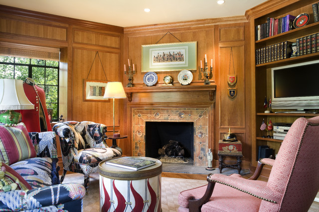 Wood Mantels Family Room Traditional with Black Patterned Armchair Black