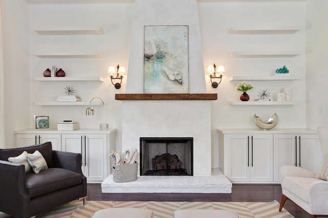 wood mantels Living Room Contemporary with beige chevron rug beige