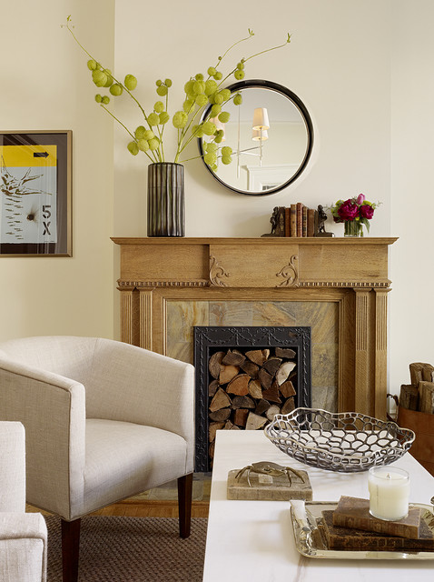 Wood Mantels Living Room Transitional with Area Rug Arm Chairs1