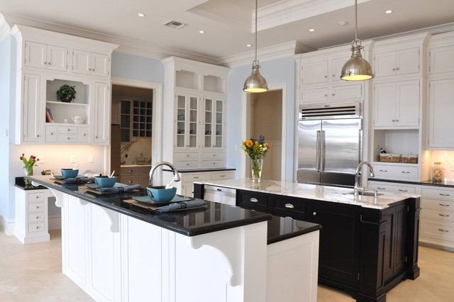 Wood Mode Cabinets Kitchen Traditional with Beige Floor Beige Stone1