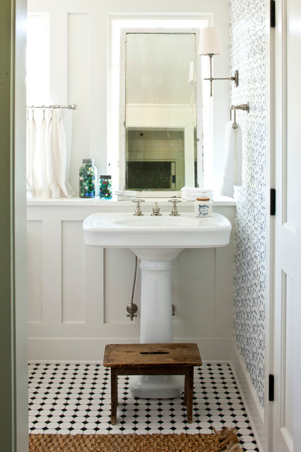 Wood Step Stool Bathroom Traditional with Accent Wall Black And