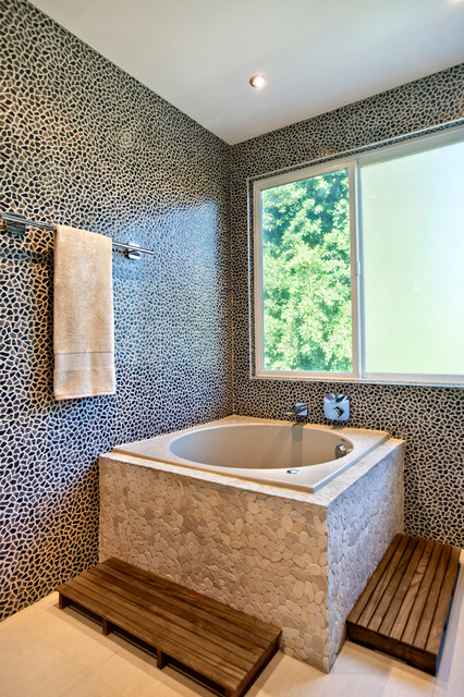 Wooden Bath Mat Bathroom Contemporary with Accent Lighting Bathroom Counter