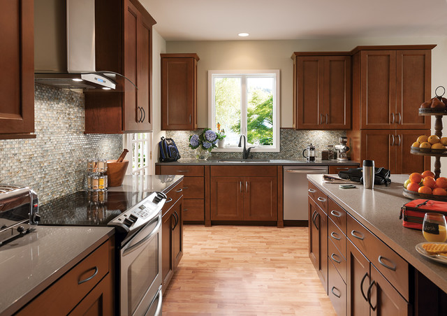 woodmark cabinets Kitchen Traditional with dark wood kitchen cabinets