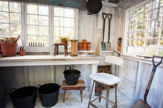 Workbench Ideas Garage and Shed Farmhouse with Ceiling Beams Exposed Wood