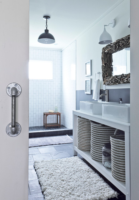 woven storage baskets Bathroom Rustic with above counter sink barn