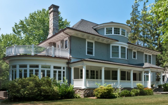wrap around porch house plans Exterior Victorian with bay window blue house