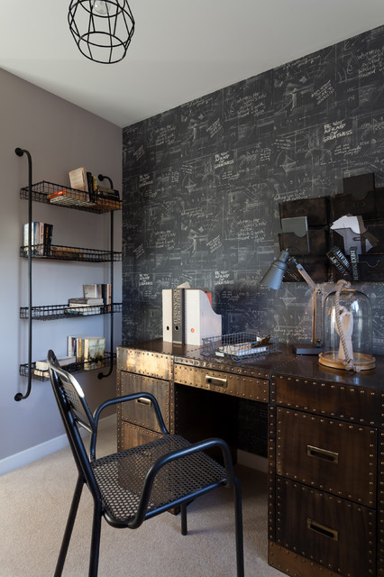 Writing Desk with Drawers Home Office Contemporary with Accent Wall Wallpaper Bellway