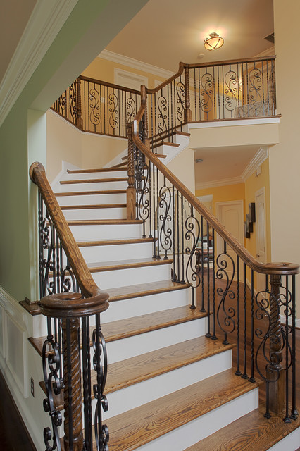 Wrought Iron Balusters Staircase Traditional with Accent Wall Banister Ceiling
