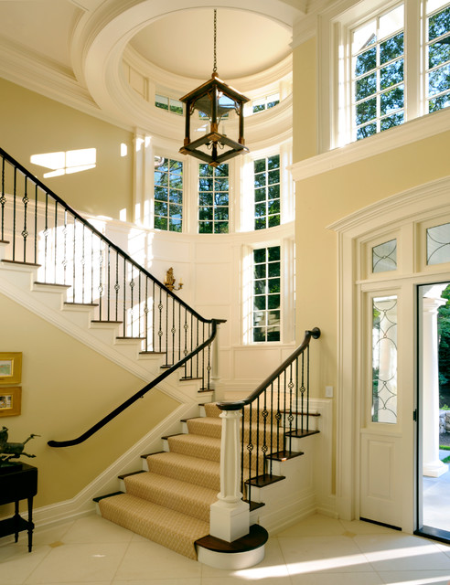 Wrought Iron Balusters Staircase Traditional with Carpet Stair Runner Custom