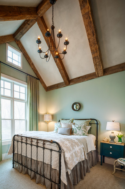 Wrought Iron Bed Frames Bedroom Farmhouse with Clerestory Window Exposed Beams