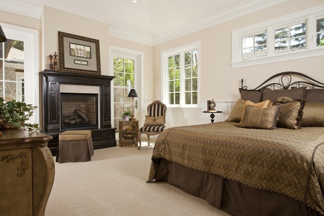 Wrought Iron Headboard Bedroom Traditional with Beadboard Beige Wall Crown