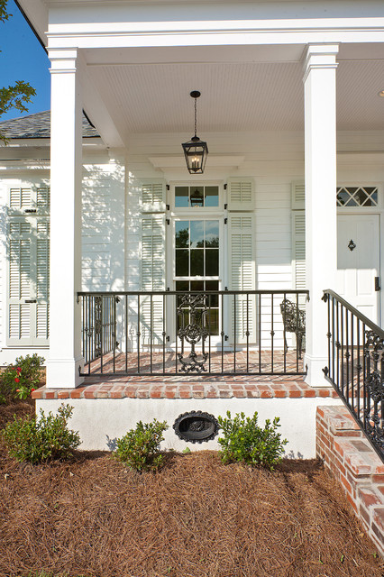 Wrought Iron Railing Porch Traditional with Brick Brick Porch Cottage