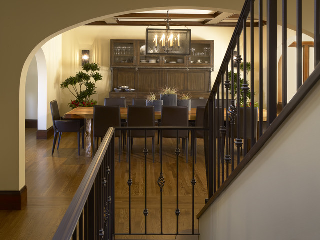 Wrought Iron Spindles Dining Room Traditional with Archway Banister Baseboards Chandelier