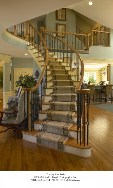 Wrought Iron Spindles Staircase Traditional with Banister Carpet Runner Freestanding