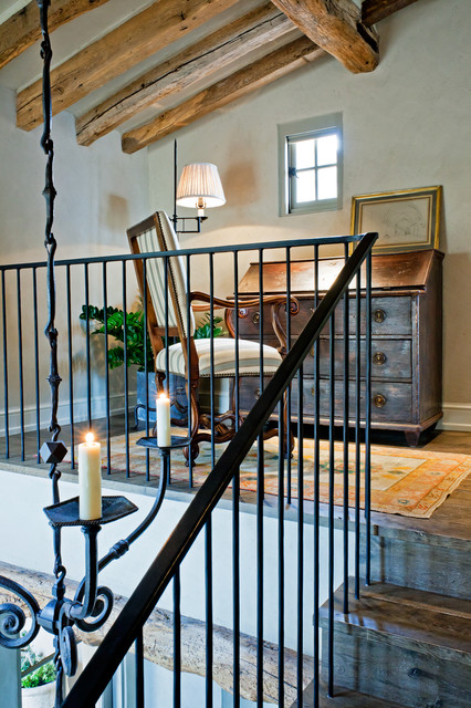 Wrought Iron Stair Railing Home Office Rustic with Area Rug Casement Windows