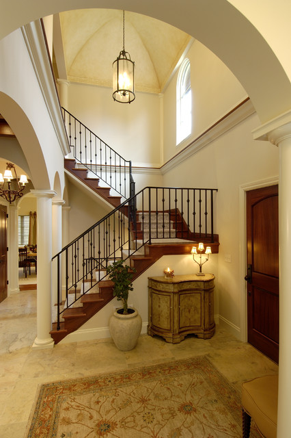 Wrought Iron Stair Railing Staircase Traditional with Area Rug Columns Dark1