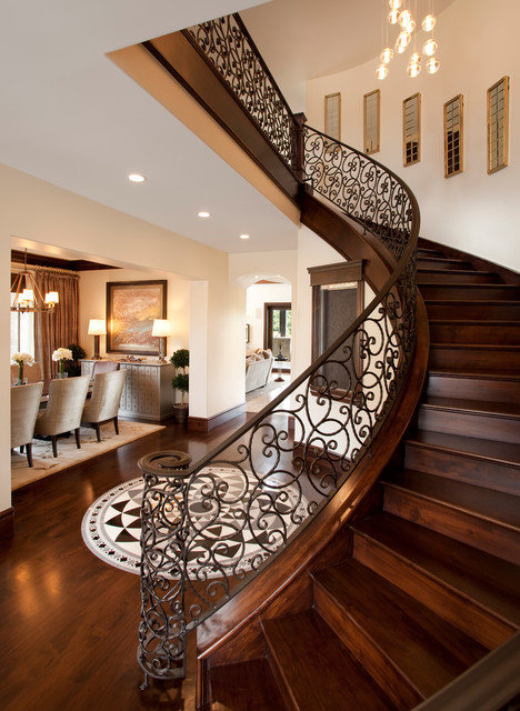 Wrought Iron Stair Railing Staircase Traditional with Cluster Pendant Lights Curved1