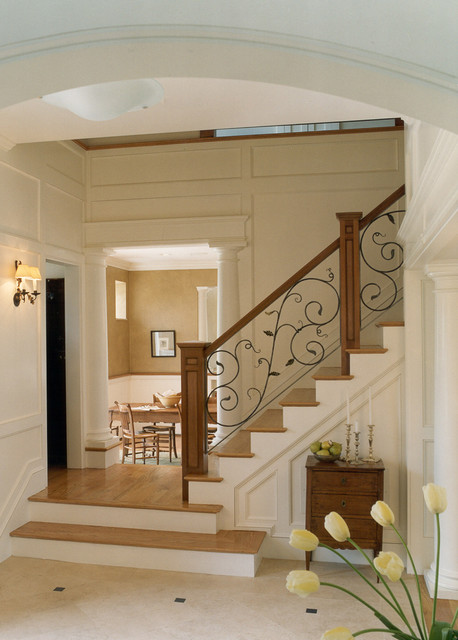 Wrought Iron Stair Railing Staircase Traditional with Columns Floor to Ceiling Wainscoting Lower