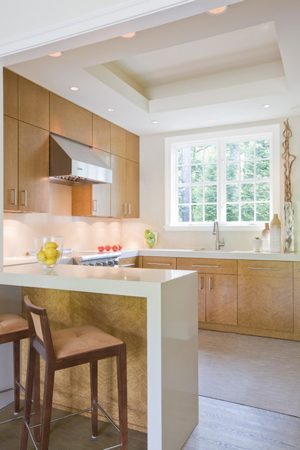 zodiaq quartz Kitchen Contemporary with airy bar Birdseye Maple
