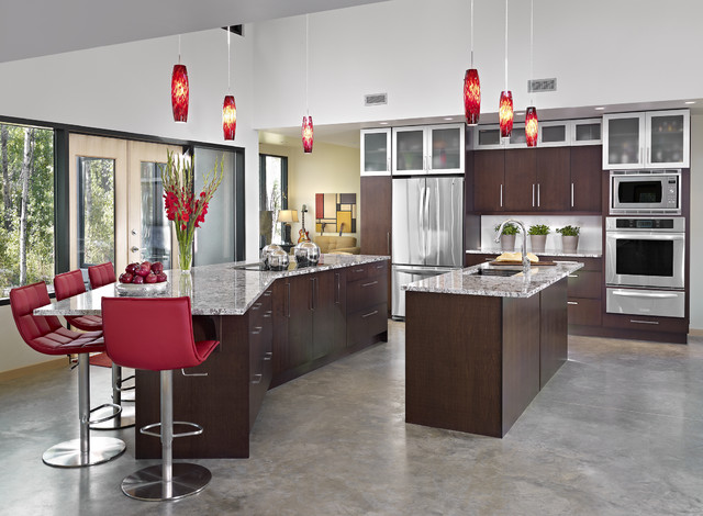 Zuri Furniture Kitchen Contemporary with Bianco Antiquo Granite Extended