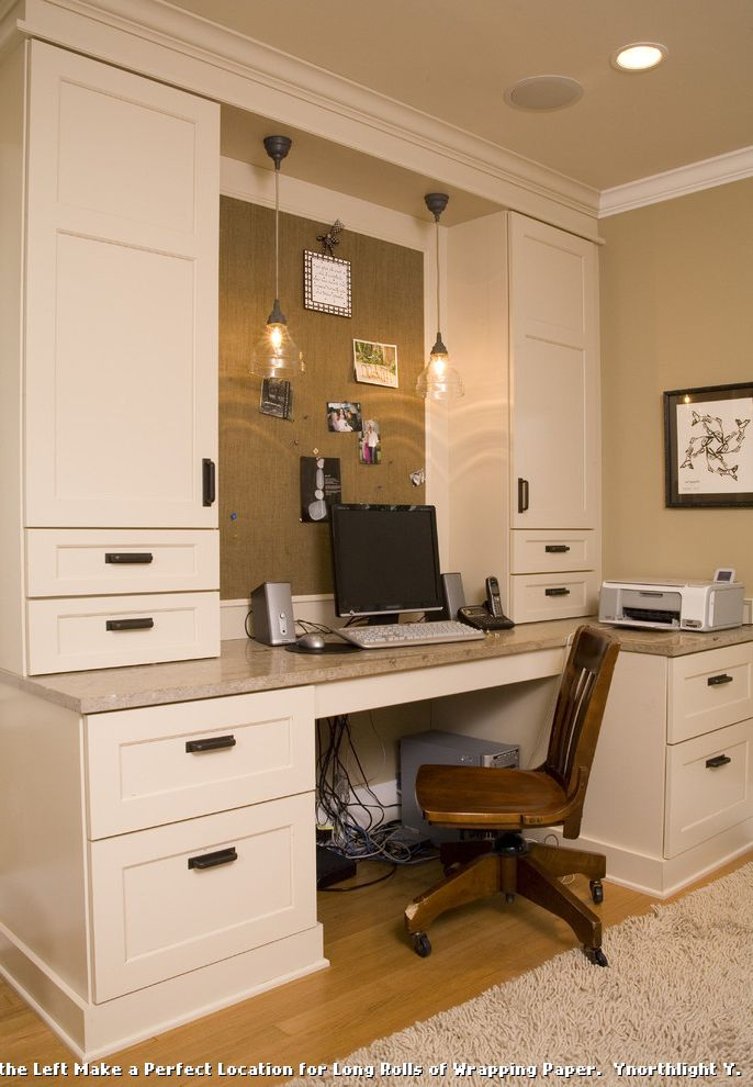 Antique Mederainan Desk  for Traditional Home Office and Recessed Lighting