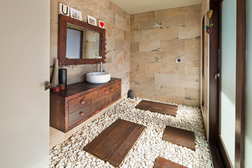 Asian Rustic  for Contemporary Bathroom and Vessel Sink