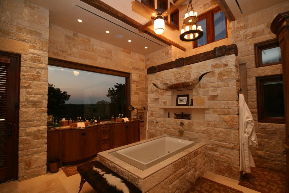 Asian Rustic  for Rustic Bathroom and Double Sinks