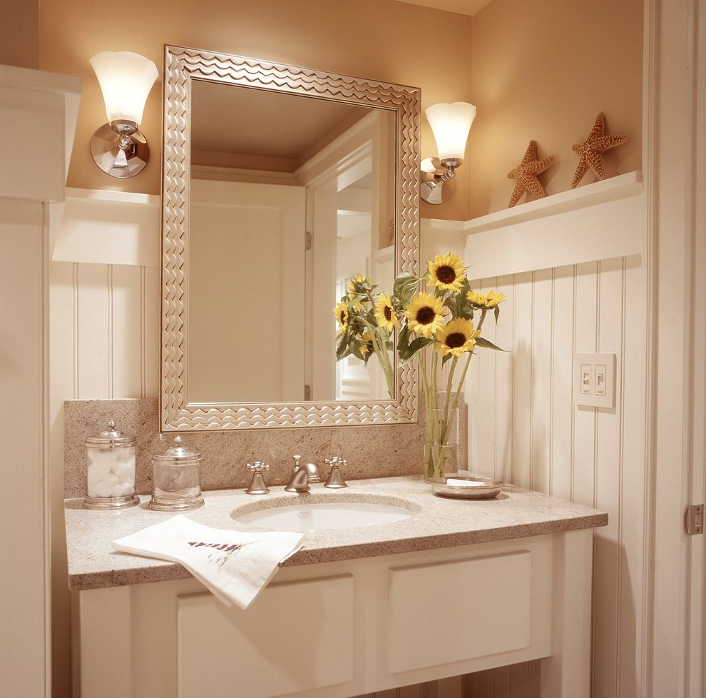 Board and Batten Beach Bathroom Ideas for Beach Style Bathroom and White Painted Wood