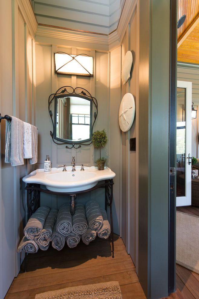 Board and Batten Beach Bathroom Ideas for Victorian Bathroom and Towel Rack