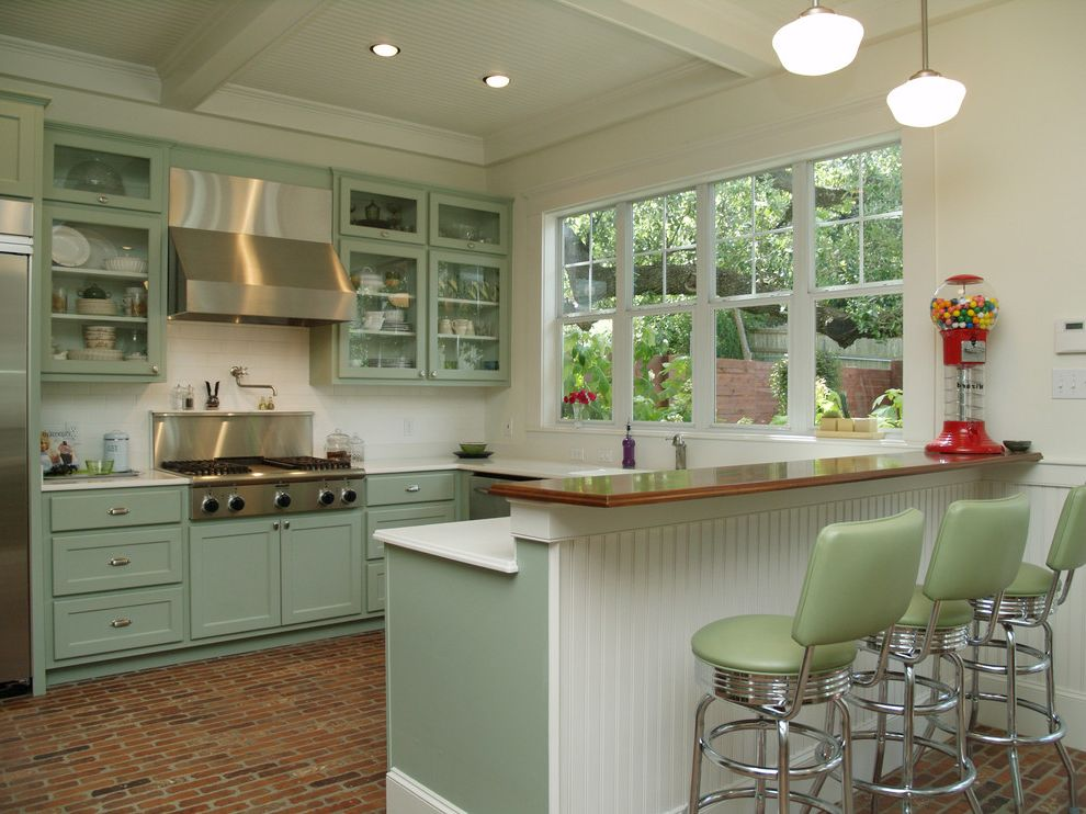 Breakfast Bar Edison Lighting  for Traditional Kitchen and White Beadboard