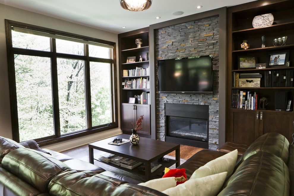 Build in Bookshelves Dark Wood Fireplace  for Contemporary Living Room and Two Tier Coffee Table