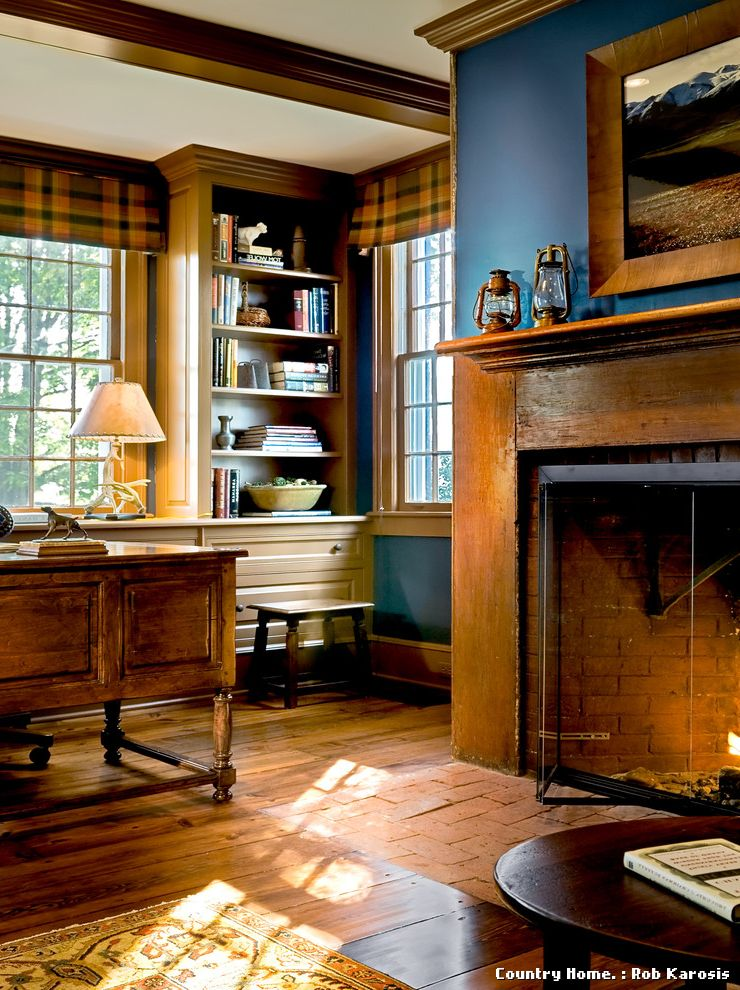 Build in Bookshelves Dark Wood Fireplace  for Traditional Home Office and Study