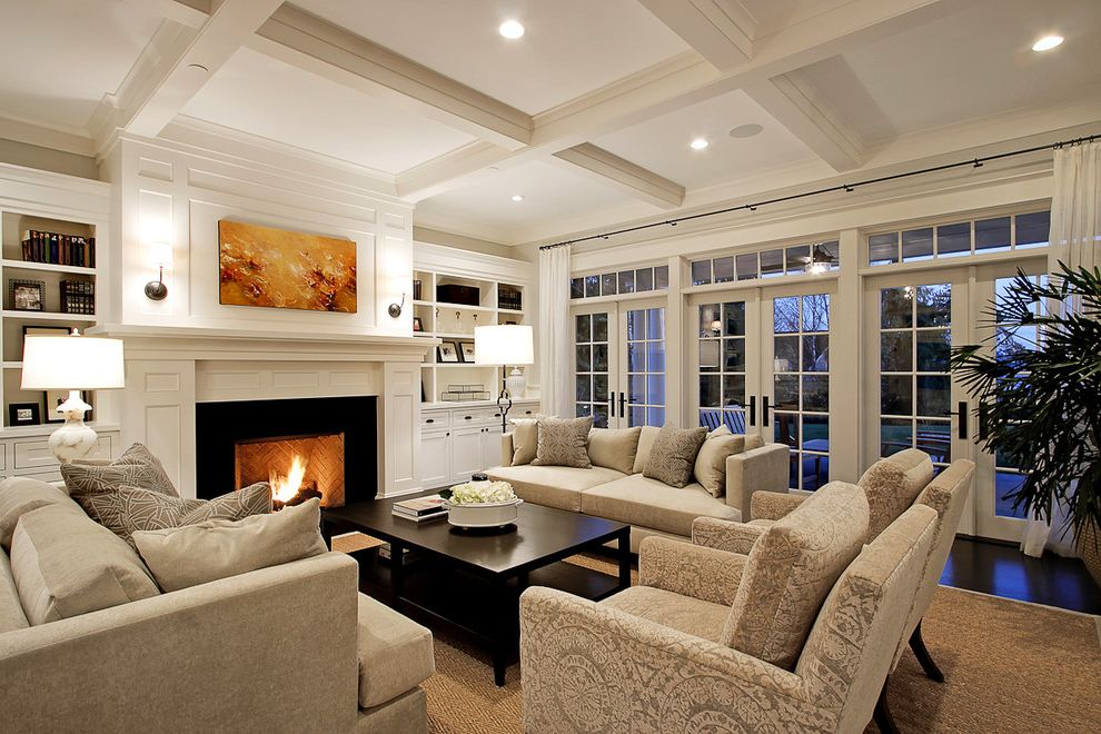 Build in Bookshelves Dark Wood Fireplace  for Traditional Living Room and French Doors