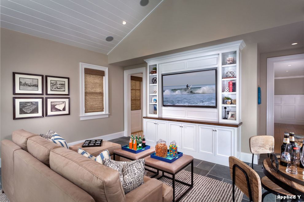 Built in Entertainment Center Flat Screen on Wall  for Beach Style Family Room and Beige Sofa