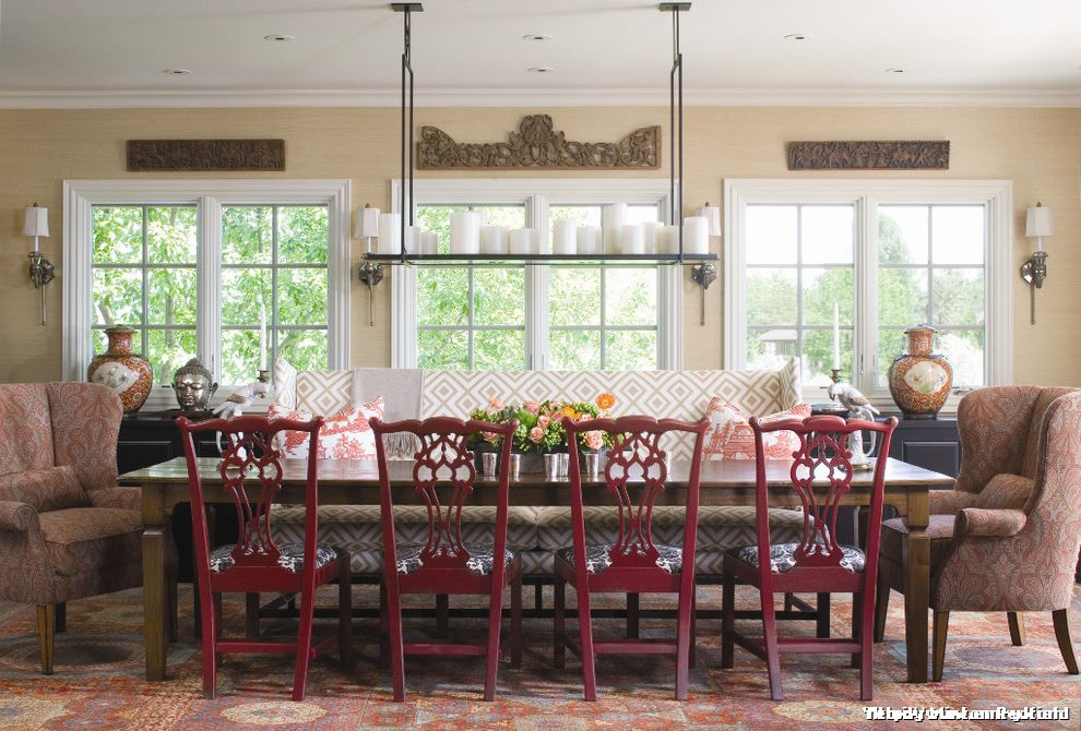 Buy Scandinavian Banquette Dining  for Traditional Dining Room and Chandelier