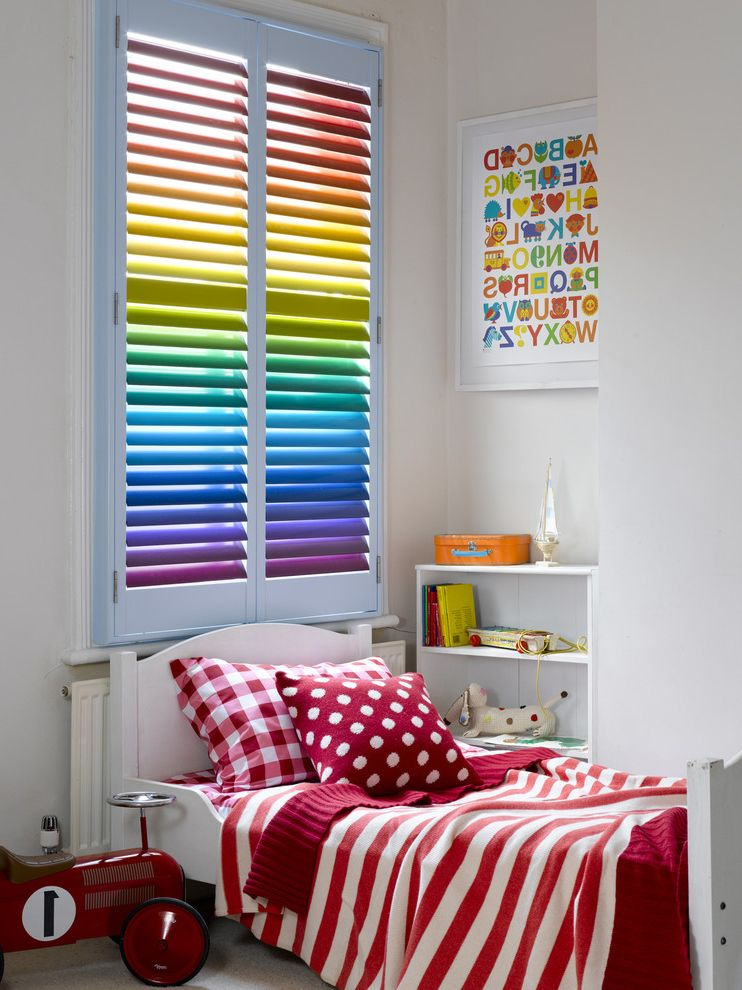 Ceiling Fan for Bedroom with Plantation Shutters  for Contemporary Kids and Solar Screens