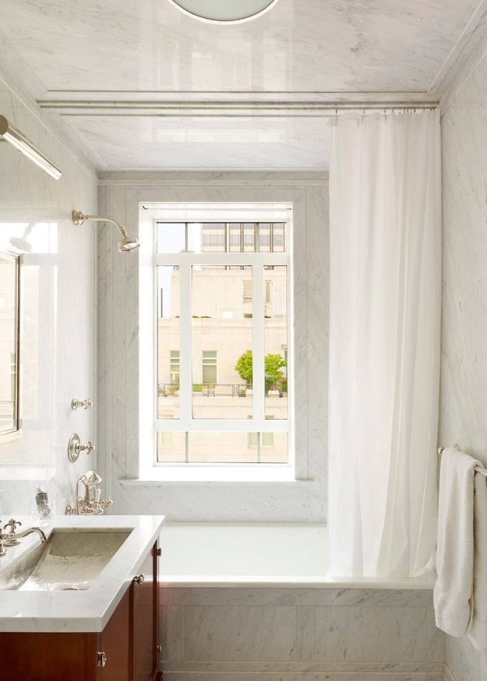 Ceiling to Floor Curtain Track  for Traditional Bathroom and Shower Window