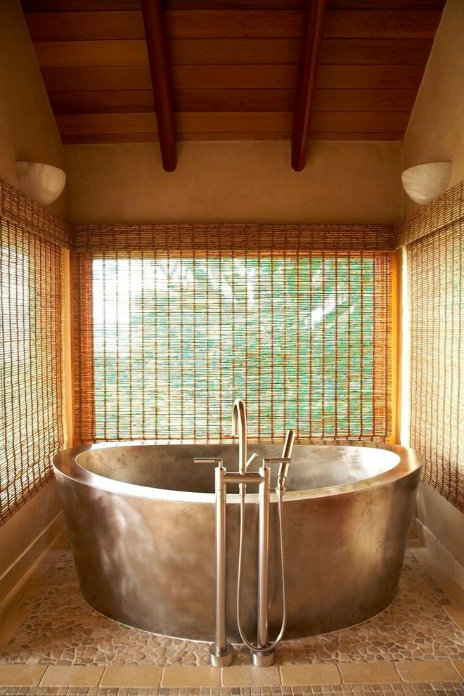 Custom Tub Shades for Tropical Bathroom and Plan Wood