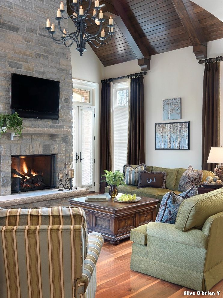 Dark Ceiling with Wood Accents  for Traditional Family Room and Vaulted Ceiling