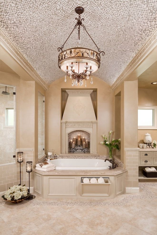 Drum Chandelier in Bathrooms for Traditional Bathroom and Mosaic Tile