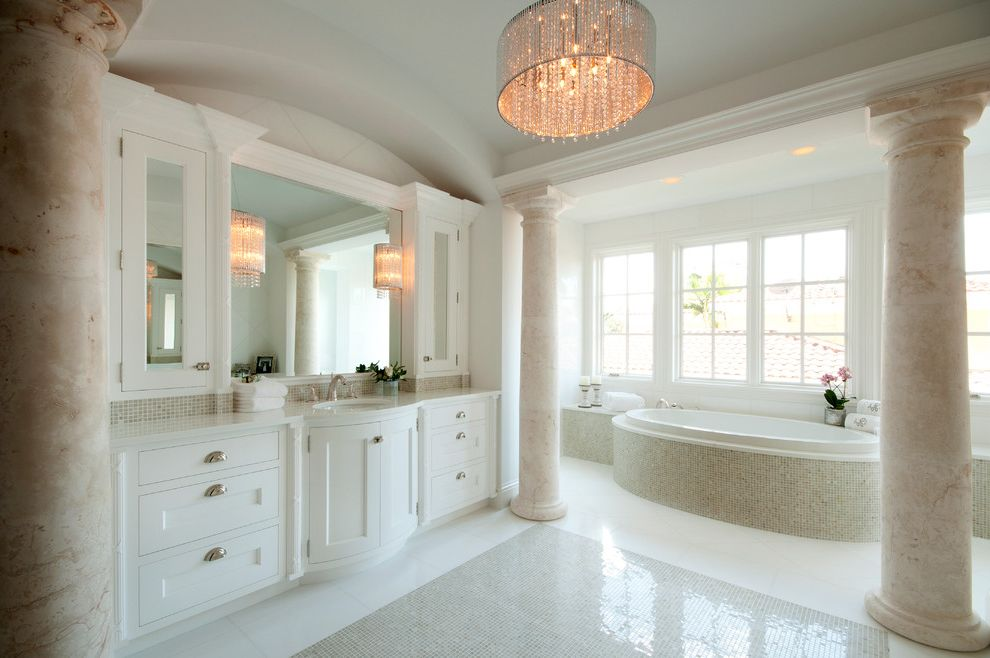 Drum Chandelier in Bathrooms for Traditional Bathroom and Tile Accent on Floor