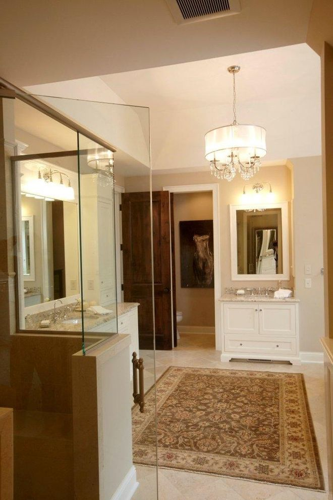 Drum Chandelier in Bathrooms for Traditional Bathroom and White Wood
