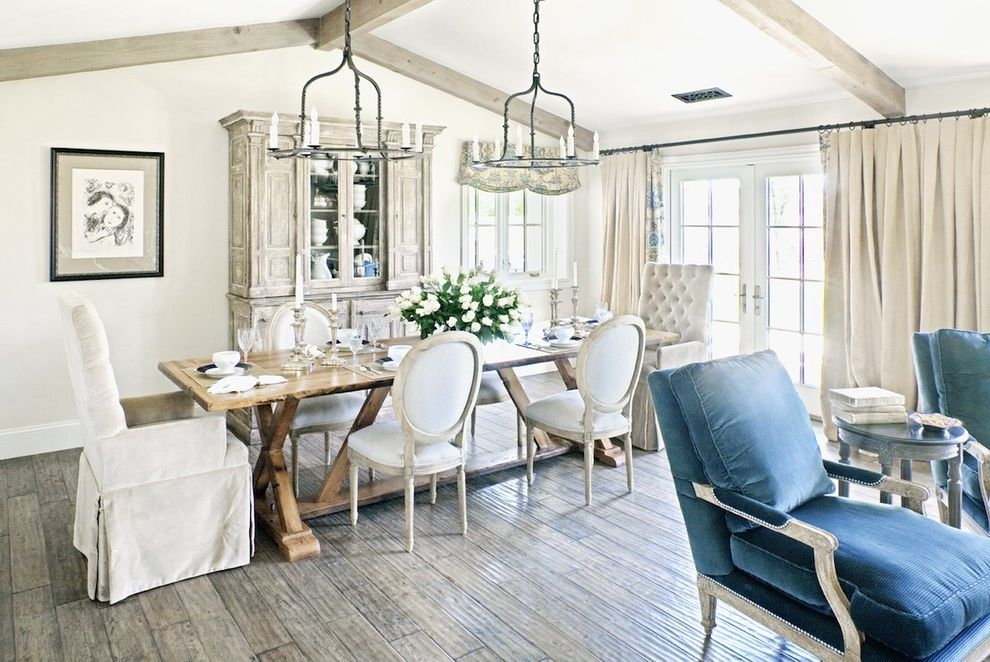 Dunn Edwards Dining Room  for Shabby-Chic Style Dining Room and Wood Flooring