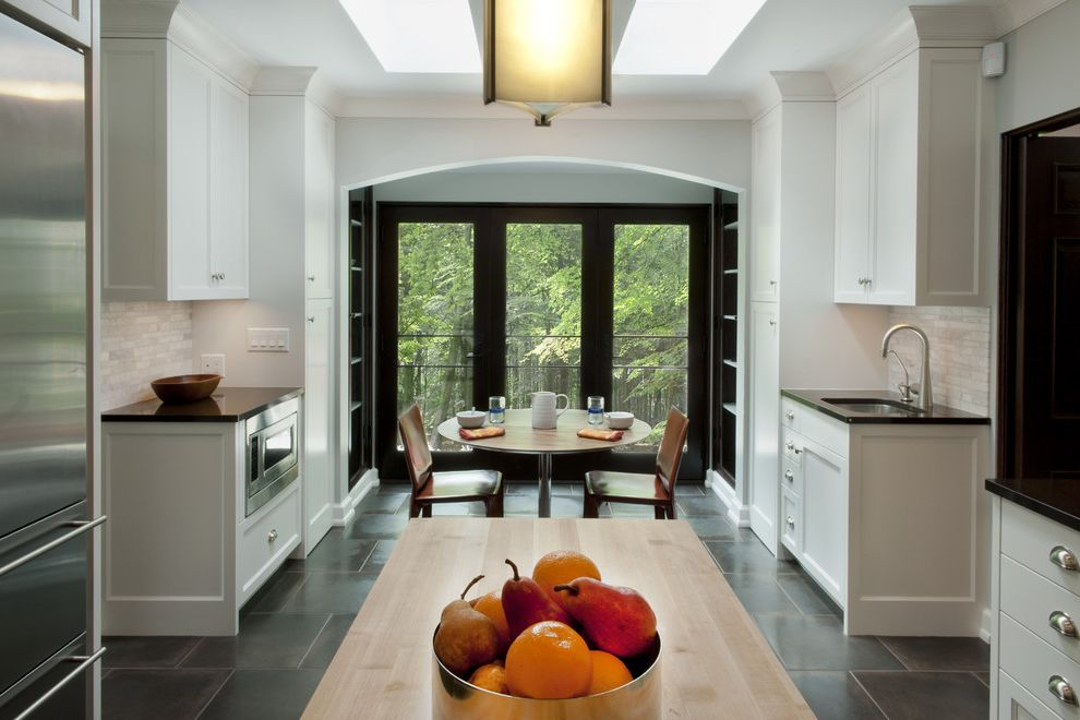 Hall Printed Floor Tiles Designs  for Contemporary Kitchen and Stainless Steel Appliances